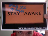 """""""Stay Awake"""" t-shirt, sticker, and CD package photo"""