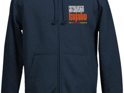 Embroidered Hooded Sweat Jacket w/ Zip - dark blue main photo