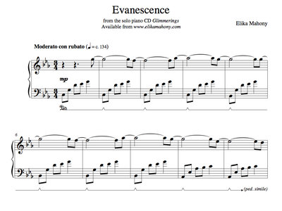 Sheet Music - Evanescence (Glimmerings) + music main photo