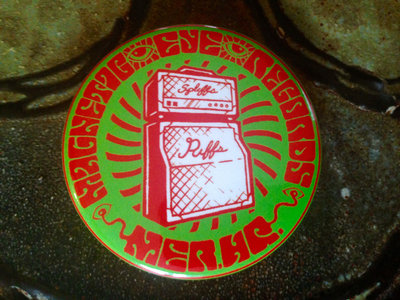 """Spliffs and Riffs"" 2.25"" Magnetic Eye Records Button main photo"