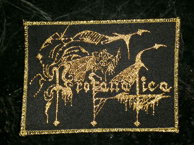 Gold embroidered logo patch main photo