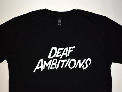 Deaf Ambitions Tee - WHITE on BLACK main photo