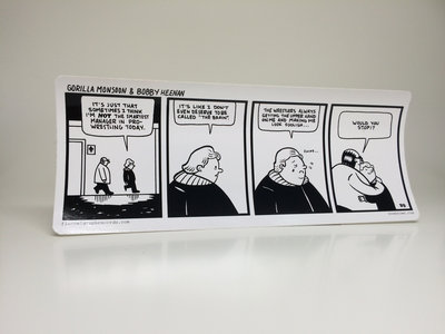 """Gorilla Monsoon & Bobby Heenan"" comic strip sticker by Box Brown + download of theme by Chris Schlarb main photo"