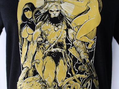 'HUNTER OF LIGHT' Yellow&White Ink Black T-shirt main photo