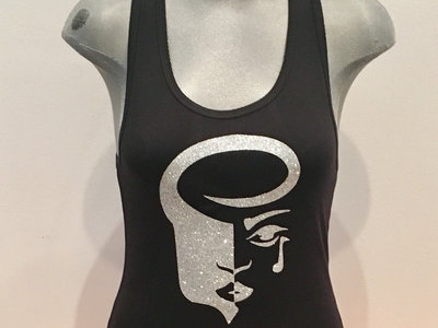 Women's Black Racerback Tank with Silver Glitter Logo main photo