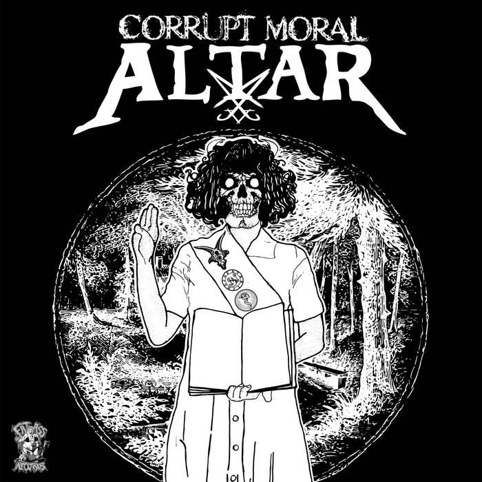 "Corrupt Moral Altar/Hicks Kinison split 7"" cover art"