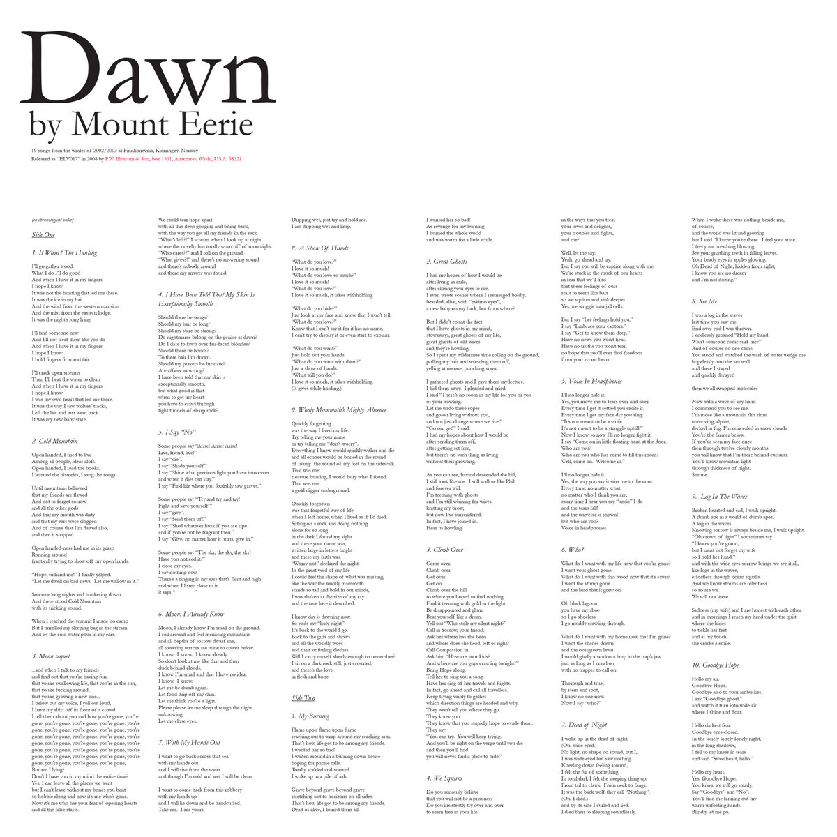 Albums for the Apocalypse #3: Mount Eerie's 'Dawn'