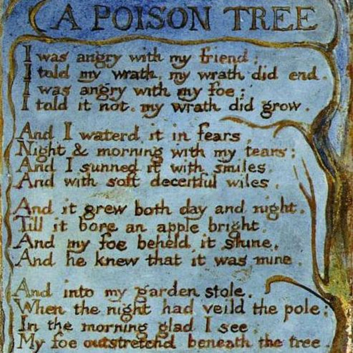 an analysis of a growing anger in a man in william blakes poem a poison tree The poem 'a poison tree' is one of the most wonderful and appreciated works of william blake here is a complete analysis of the poem a poison tree by william blake.