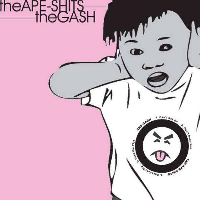 """The Gash / The Ape Shits split 7"""" cover art"""