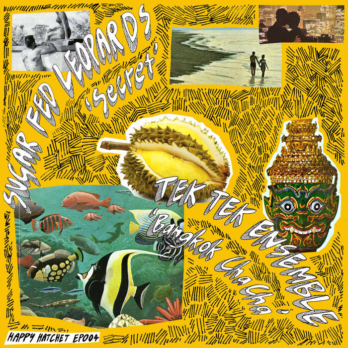 "HAPPY HATCHET SPLIT 7"" EP004 W/ SUGAR FED LEOPARDS / TEK TEK / EMPAT LIMA cover art"