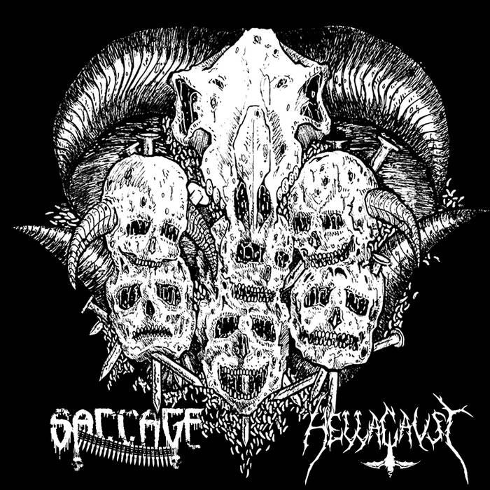 SACCAGE / HELLACAUST split (tape/7'') cover art