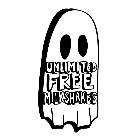 unlimited free milkshakes label