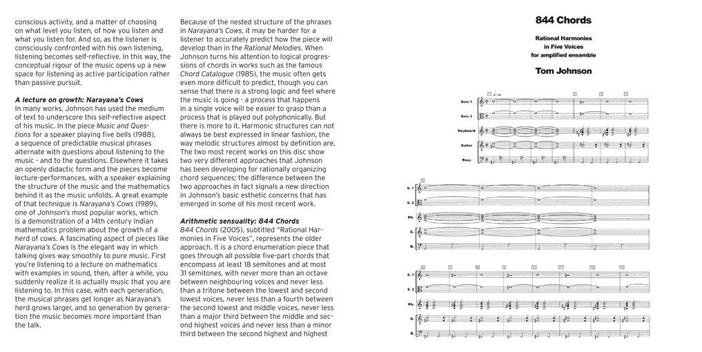 Cows, Chords & Combinations - Tom Johnson | Ensemble Klang