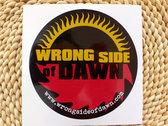 """Buzzsaw sun"" logo T-shirt, CD of new single, and bumper sticker photo"