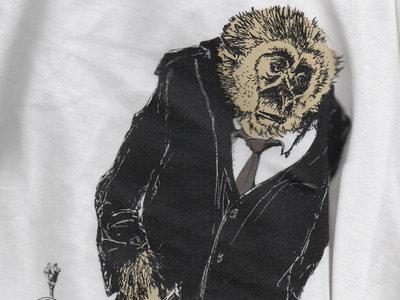 Mr. Gibbon Tee Shirt - Women's White V Neck (tight cut) MEDIUM ONLY main photo