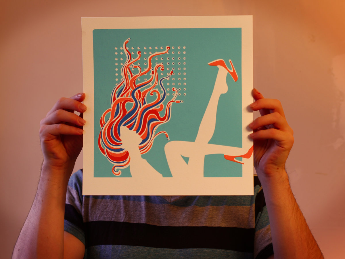 Weak Knees 12x12 Silkscreen Print Tigers On A Leash