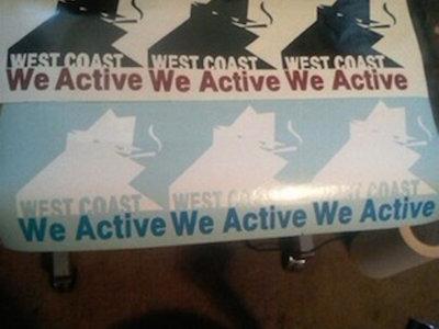 "WEST COAST WE ACTIVE VINYL STICKERS 4""X4"" main photo"