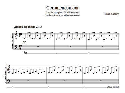 Sheet Music - Commencement (Glimmerings) + music main photo