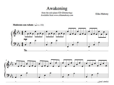 Sheet Music - Awakening (Glimmerings) + music main photo