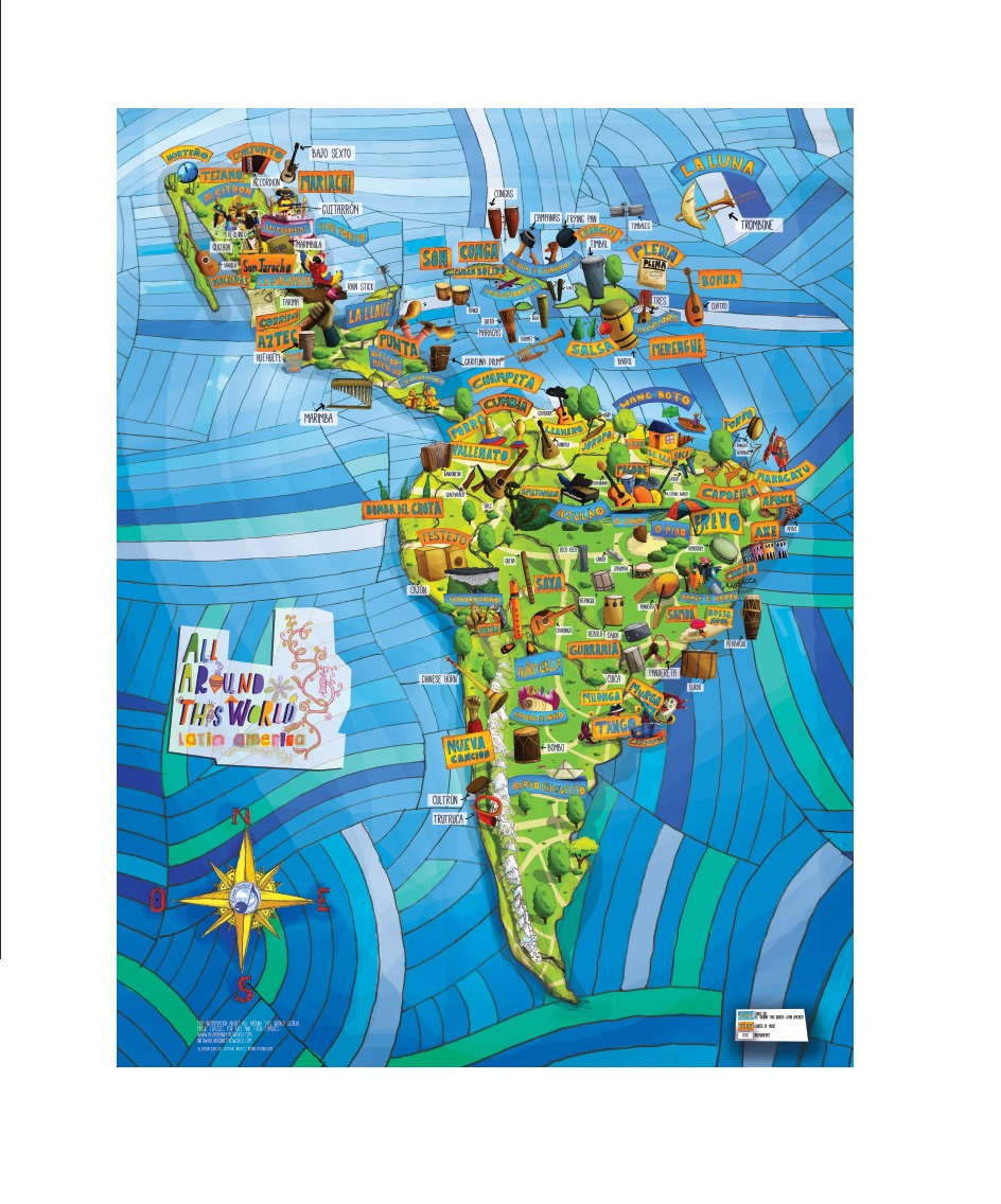 All Around This World Latin America Musical Map 24 x 36 poster
