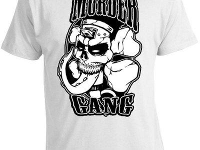 """MURDERGANG"" White Tee with black Logo main photo"