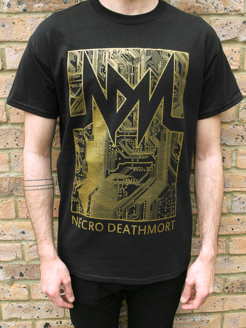 Black t shirt with gold design - Circuit T Shirt Design Black Gold Main Photo