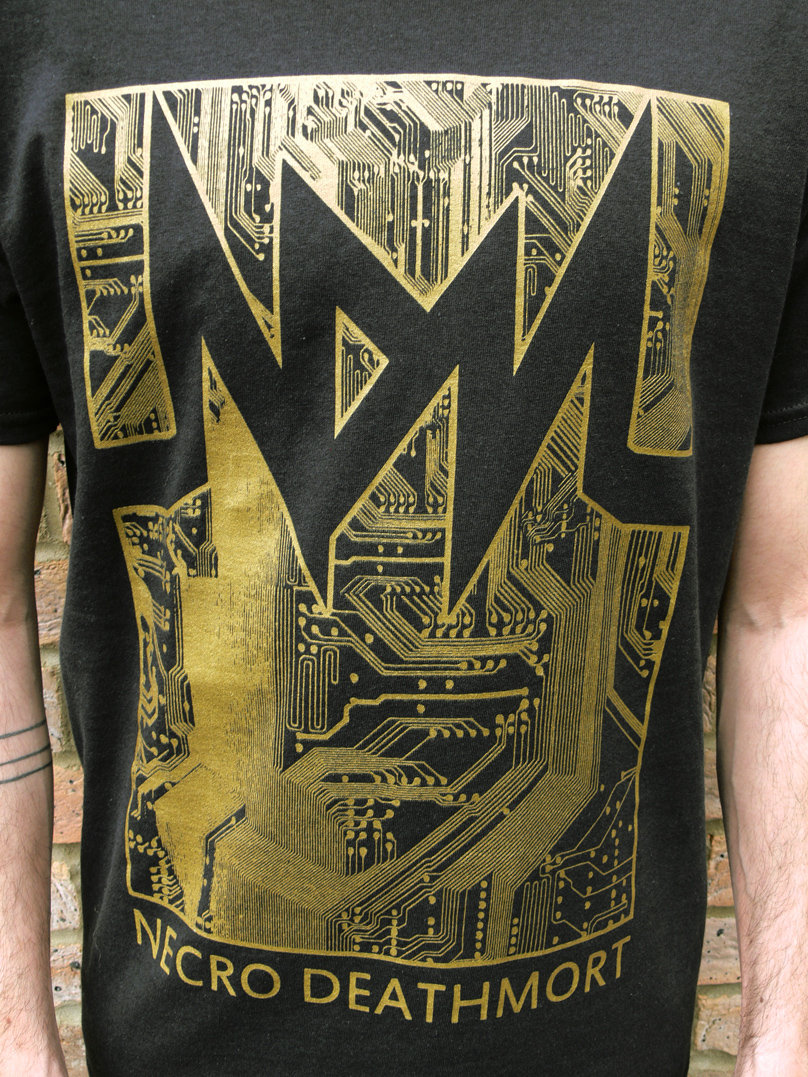 Black t shirt with gold design - Circuit T Shirt Design Black Gold Photo