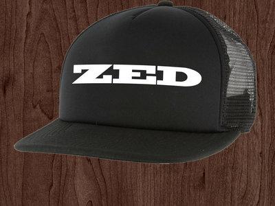Trucker Hat - Black with White Print main photo