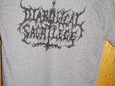 Diabolical Sacrilege Black Logo on GRAY Shirt photo
