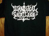 Diabolical Sacrilege White Logo on BLACK Shirt photo