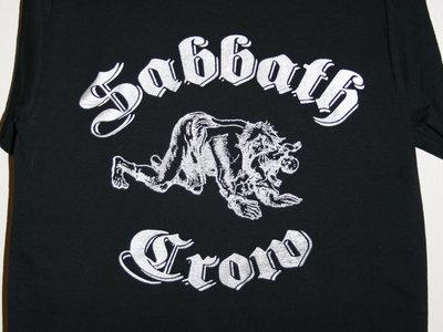 Sabbath Crow werewolf with baby in mouth t-shirt - metallic silver on black main photo