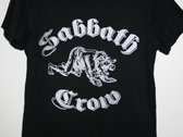 Sabbath Crow werewolf with baby in mouth ladies tees and tanks - silver ink on black photo