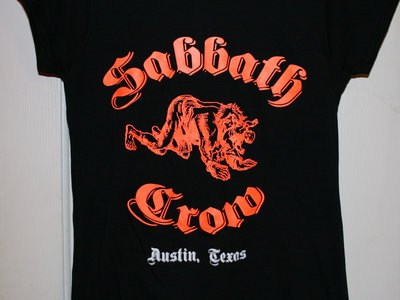 Closeout!!  Sabbath Crow werewolf with baby in mouth ladies tees and tanks - orange & white on black main photo