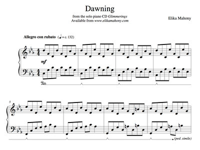Sheet Music - Dawning (Glimmerings) + music main photo