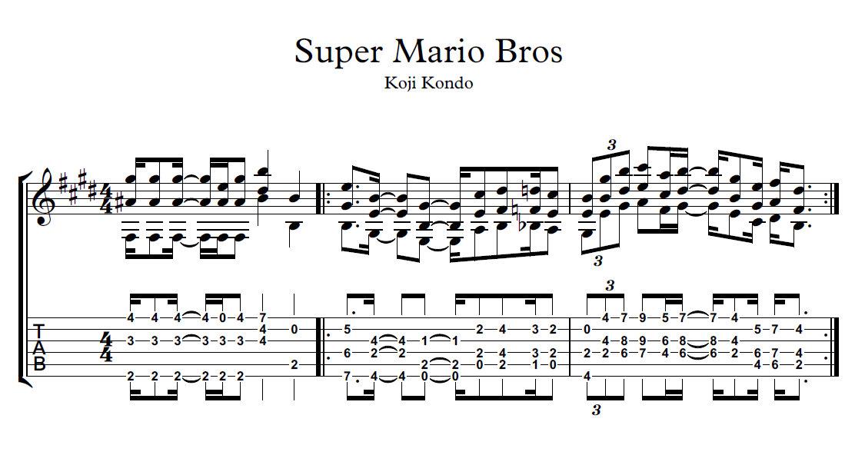 Super mario bros partitura y tablatura el profe mauro for Partituras guitarra clasica