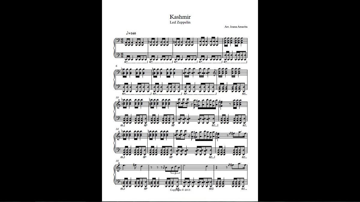 kashmir piano sheet music pdf