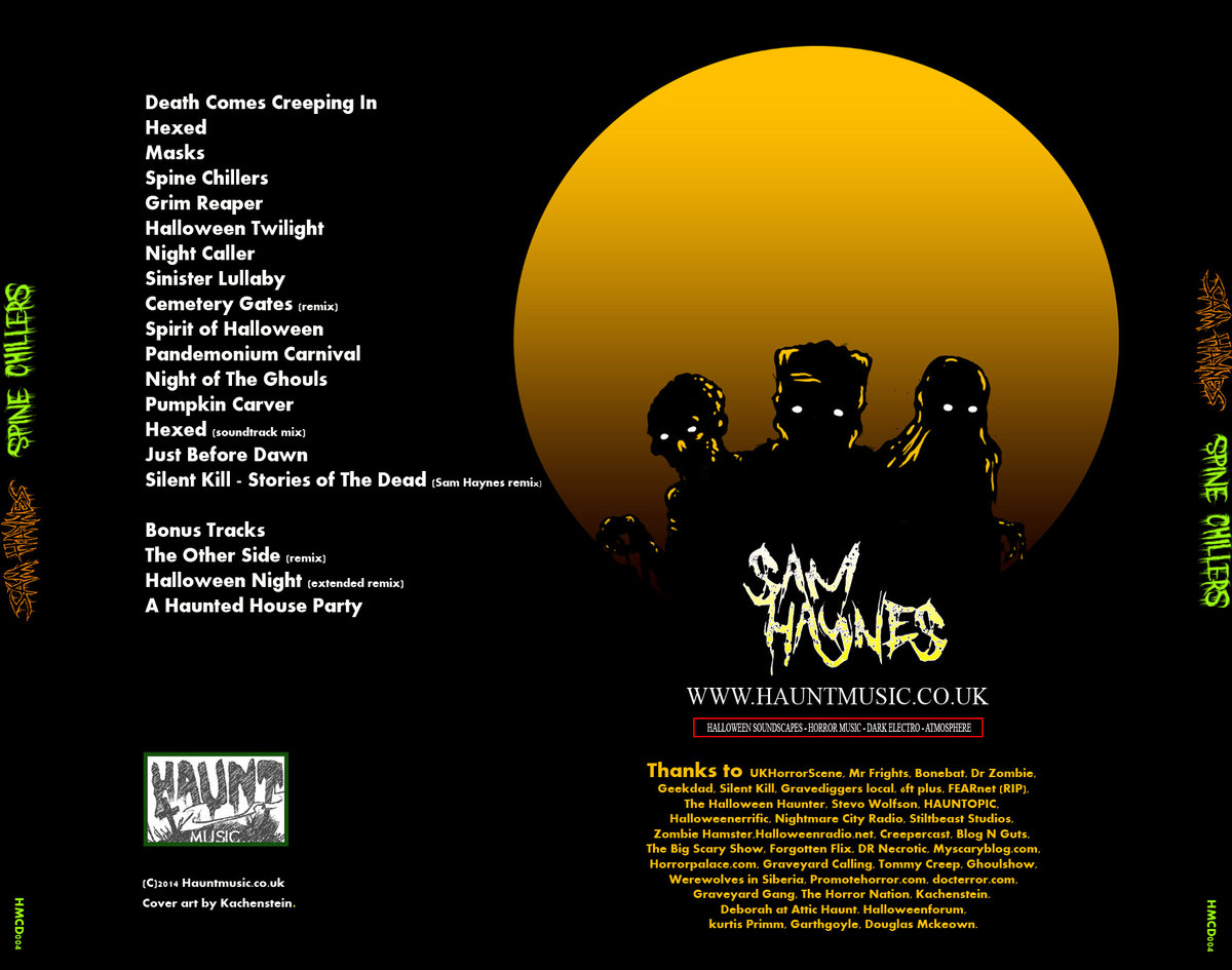 spine chillers halloween haunt music sam haynes horror a limited black cd of spine chillers full colour artwork by katchenstein housed in a jewel case the full album plus bonus tracks