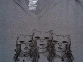 Triple Kitties Cat Mask Dark Grey V-Neck T-Shirt photo