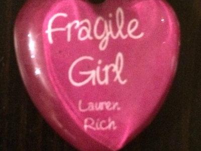 """""""Fragile Girl"""" Handmade glass heart magnet main photo"""