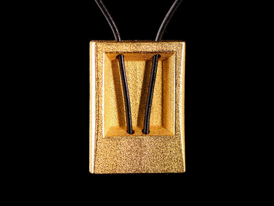 Flat Rectangular Pendant with a Leather Thread, Gold-plated Steel main photo