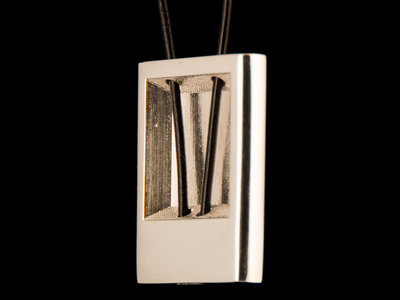 Silver Rectangular Pendant with a Leather Thread main photo