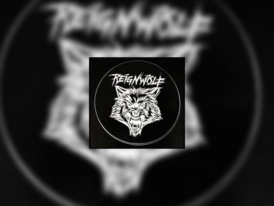 "Black 4"" Circular Wolf Head Sticker main photo"