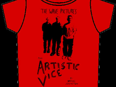 The Wave Pictures Play Artistic Vice T-shirt Black Print on Red main photo