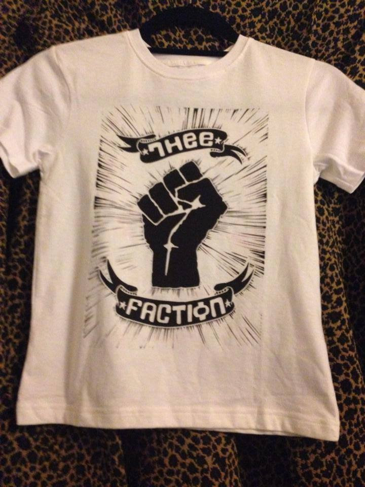 THEE FACTION hand-printed t-shirt - WHITE WITH BLACK INK | Thee ...
