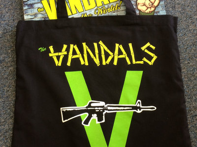 Vandals Logo Black Tote Bag (plus download of new Vandals song!) main photo