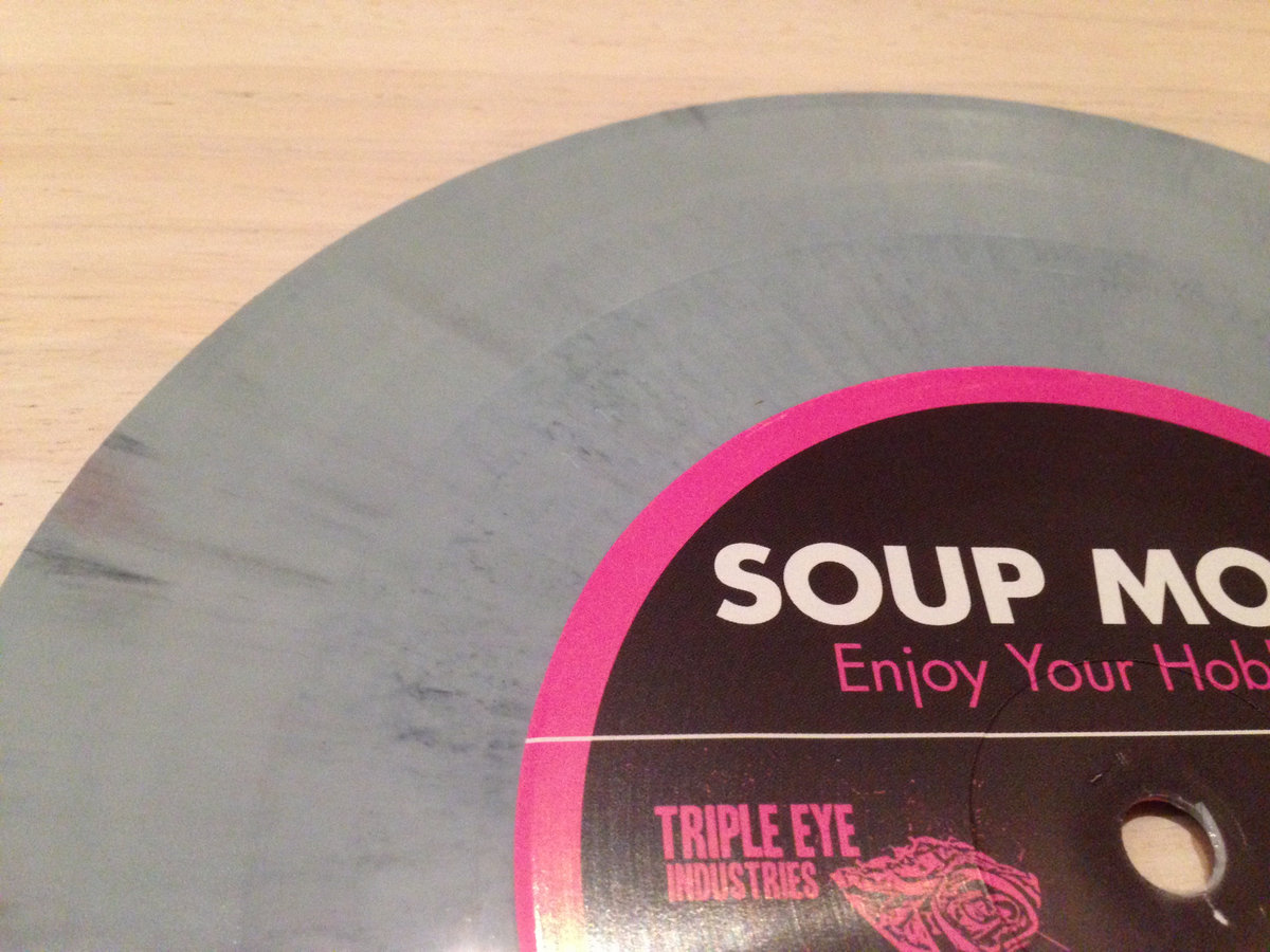 enjoy your hobbies 7 triple eye industries 5 song 7 vinyl pressed on random color standard weight vinyl by united record pressing hand screen printed cover includes digital card