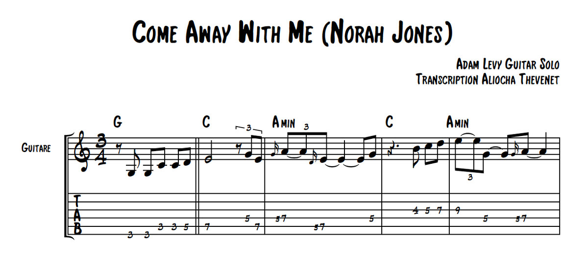 All Music Chords don t know why norah jones sheet music : Come Away With Me - Norah Jones / Adam Levy | Aliocha Thevenet