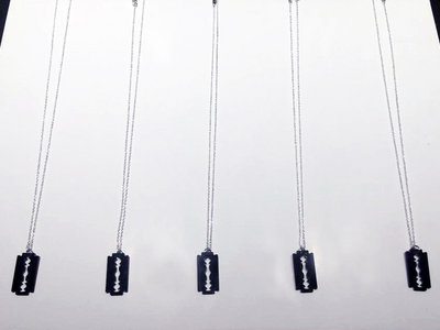 Handmade Acrylic Razor Blade Pendant & Chain (Black) main photo