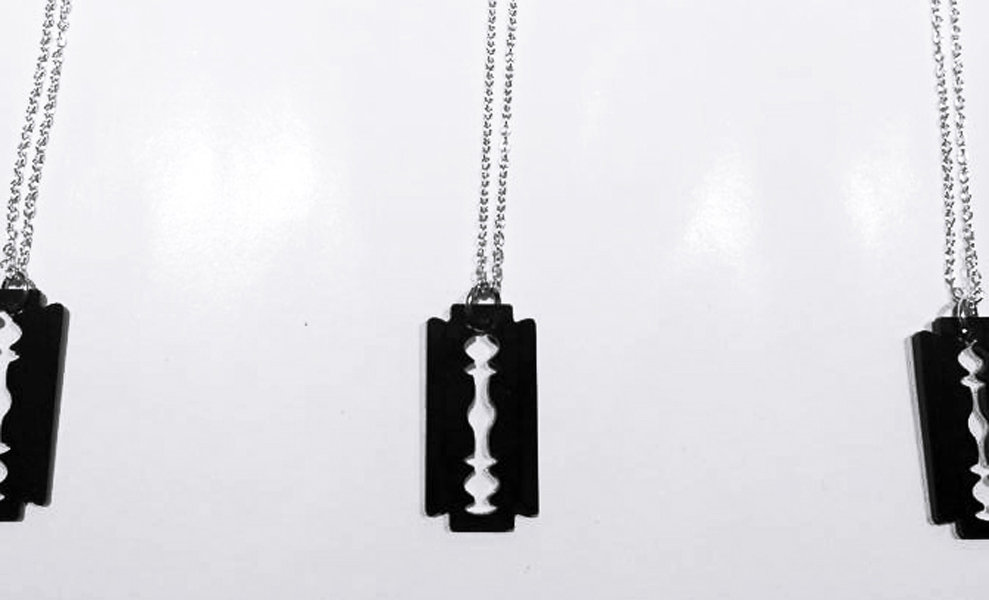 Handmade acrylic razor blade pendant chain black the kut handmade acrylic razor blade pendant chain black photo thecheapjerseys Image collections