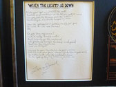 Ghosts Of Victory Signed Framed Photo Frame with handwritten song lyrics. photo
